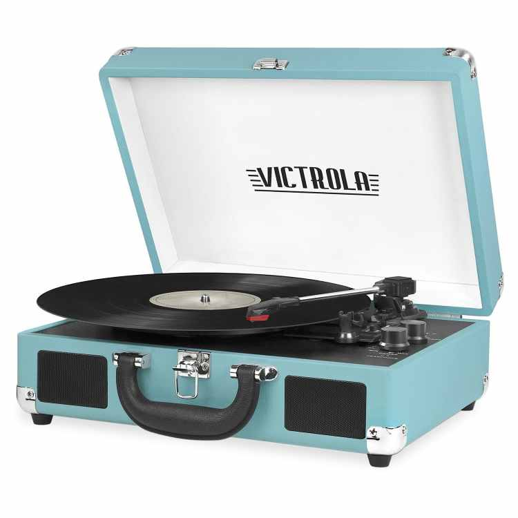 Unique Gift Ideas Under $50 - Victrola Vintage 3-Speed Bluetooth Suitcase Turntable with Speakers