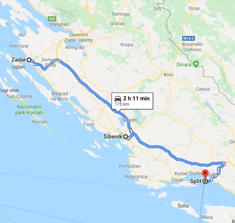 Zadar to Split on 7 day croatia road trip