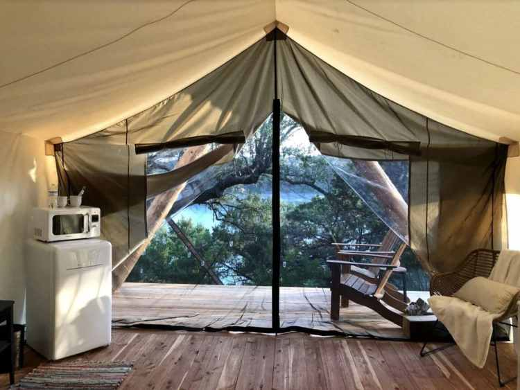 austin area glamping safari tents inside
