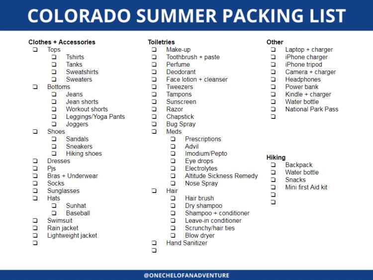 Customizable Colorado Summer Packing Checklist Printable