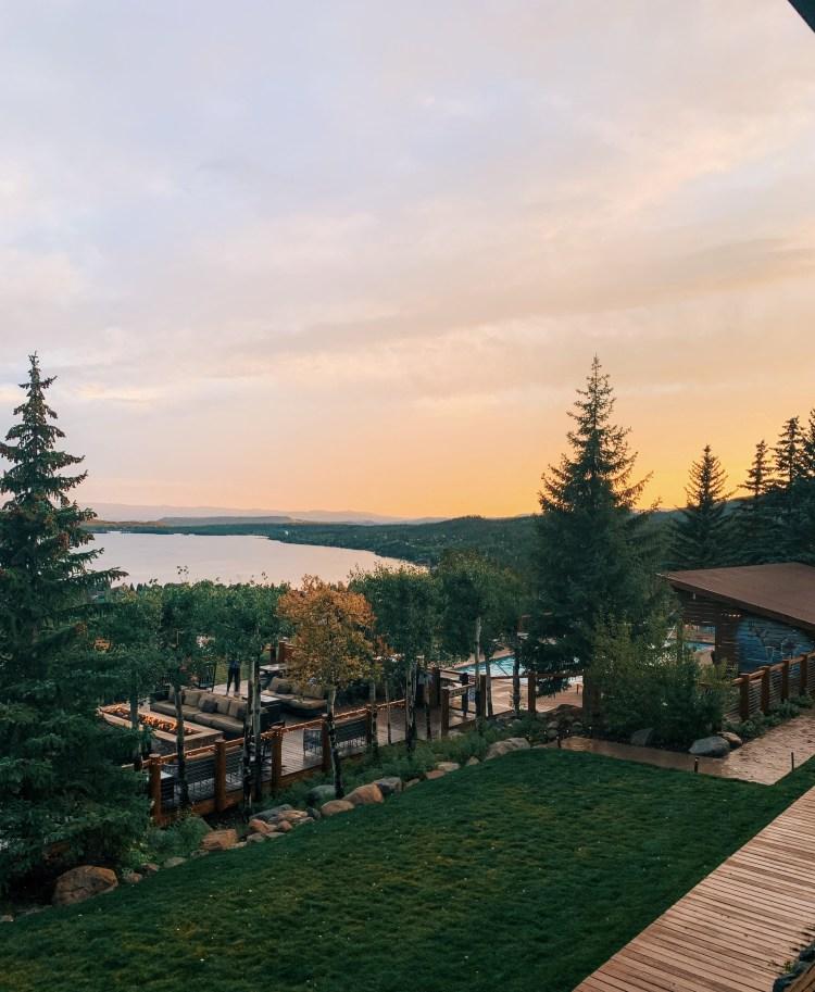 View of Grand Lake Lodge at Sunset