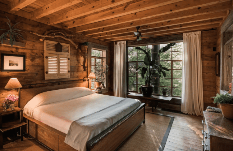 bedroom in luxury texas treehouse