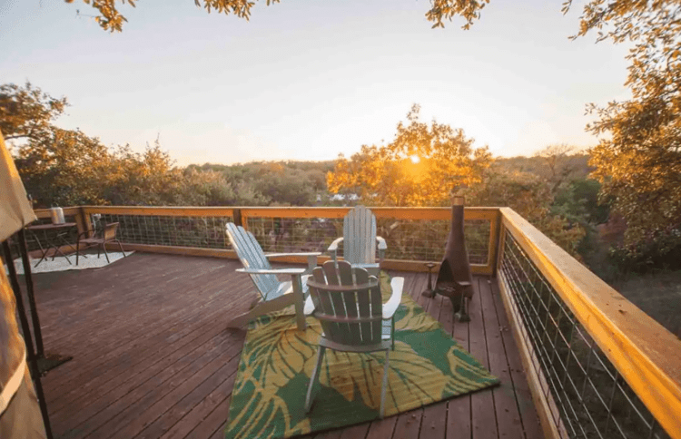 Yurt Deck and view of Texas Hill Country