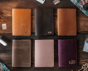 Gift ideas for Travelers: personalized passport cover