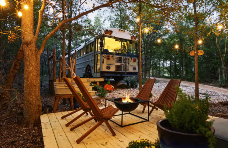 cool school bus airbnb near Austin
