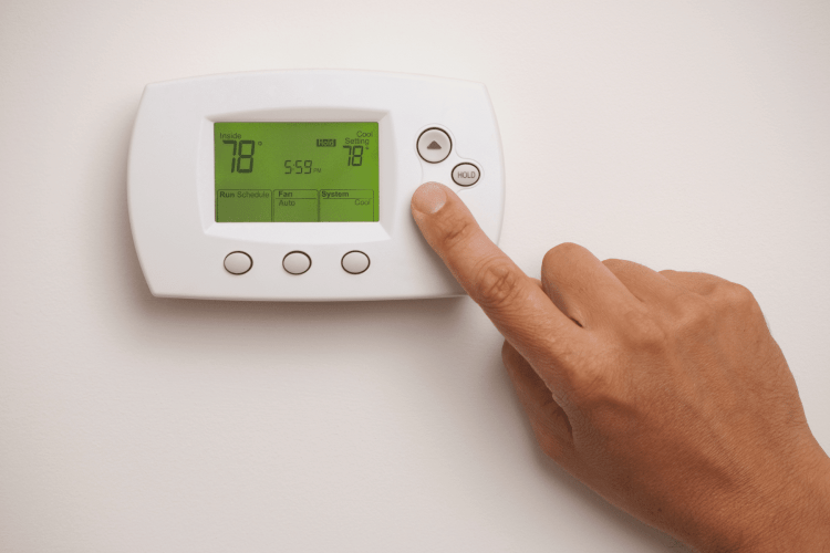 Set thermostat before leaving on vacation