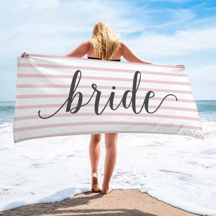 bride beach towel for Beach Bachelorette Party