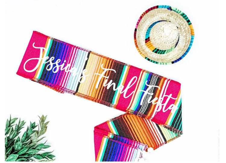 Fiesta Bachelorette Party colorful sash