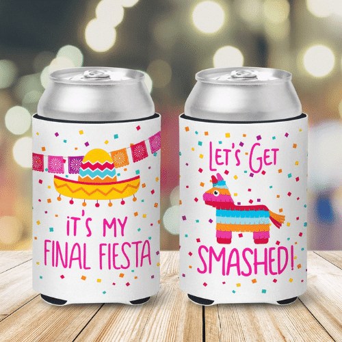 get smashed Fiesta Bachelorette Party koozies