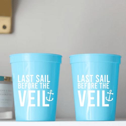 Nautical Bachelorette Party Ideas - last sail before the veil cups