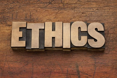"The word ""Ethics"" on wooden blocks"