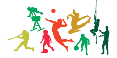 Several silhouettes playing sports.