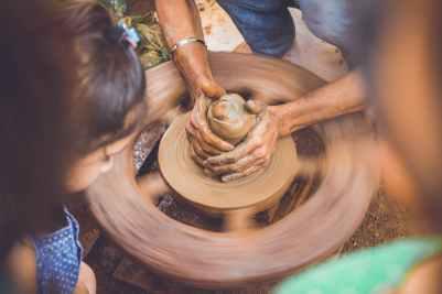 hands slow motion pot brown