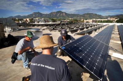 Solar panels on campus.