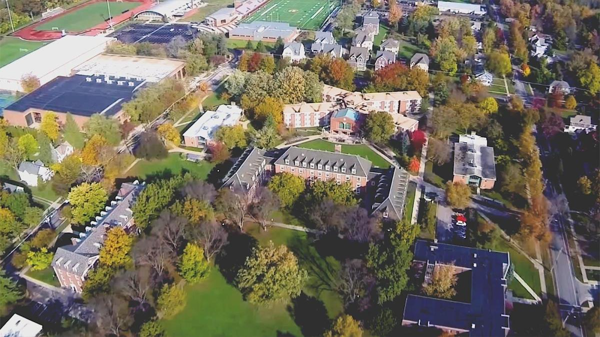 An aerial view of Oberlin College