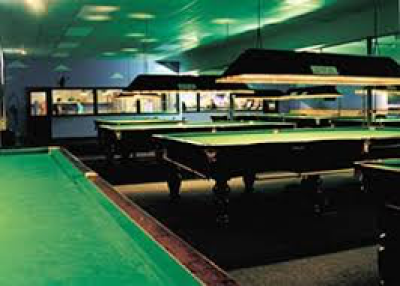 A bunch of pool tables