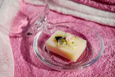 Fancy hand soap in a glass dish
