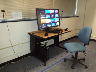 desk and chair in office