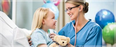 A nurse attending to a child