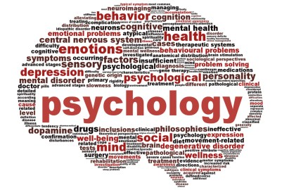 Sign of a brain with words with psychology