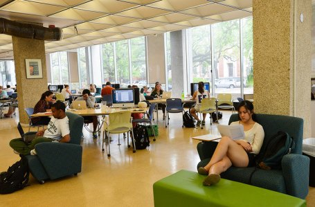 People doing work and research in a quiet space