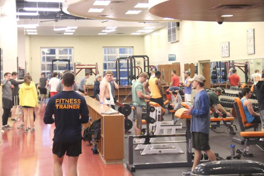 Students working out at the fitness center