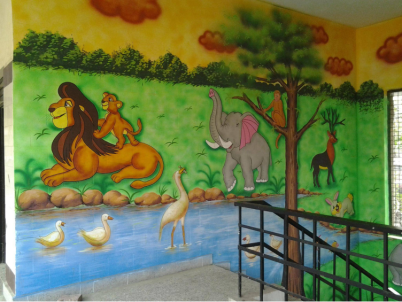 cartoon image of different animals in jungle