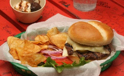 serving of burger and salad at fat patties