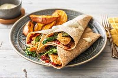 chicken wraps and sweet potato serving