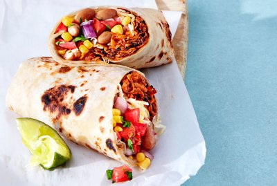 Black Bean and Corn Salsa Freezer Burritos