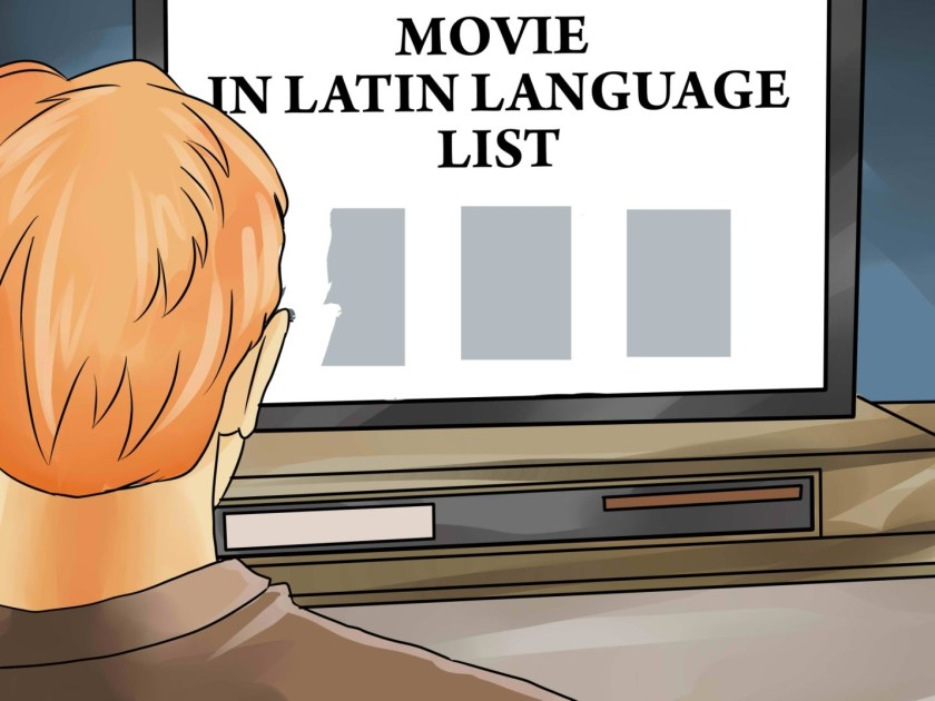 An illustration of a scholar searching for a movie in Latin