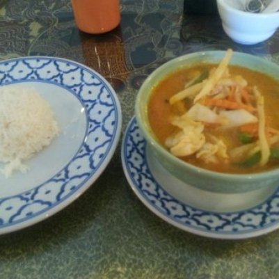 rice and a bowl of soup
