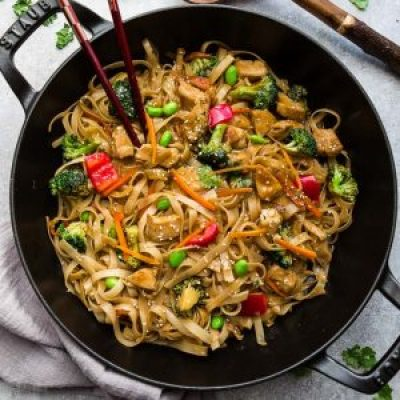 Teriyaki Chicken Noodles in pot