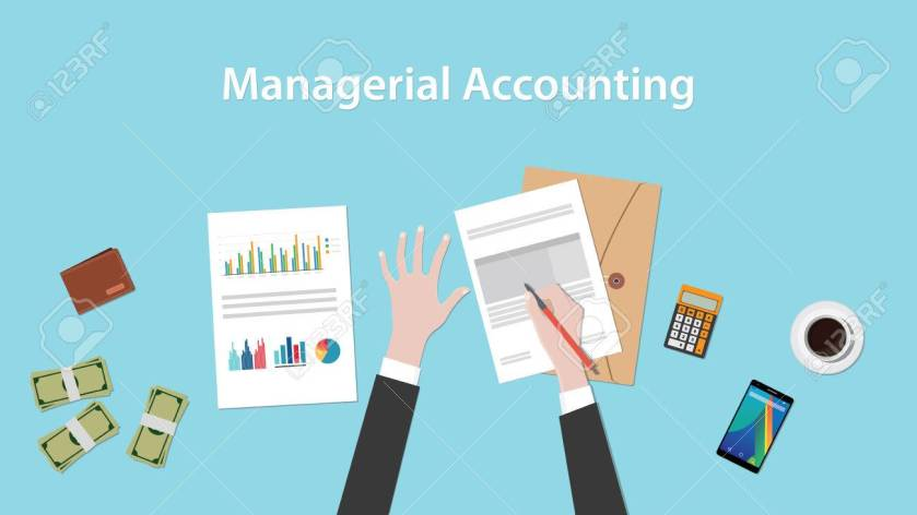 managerial accounting illustration with a man signing paperworks and folder document, money and calculator on top of table vector