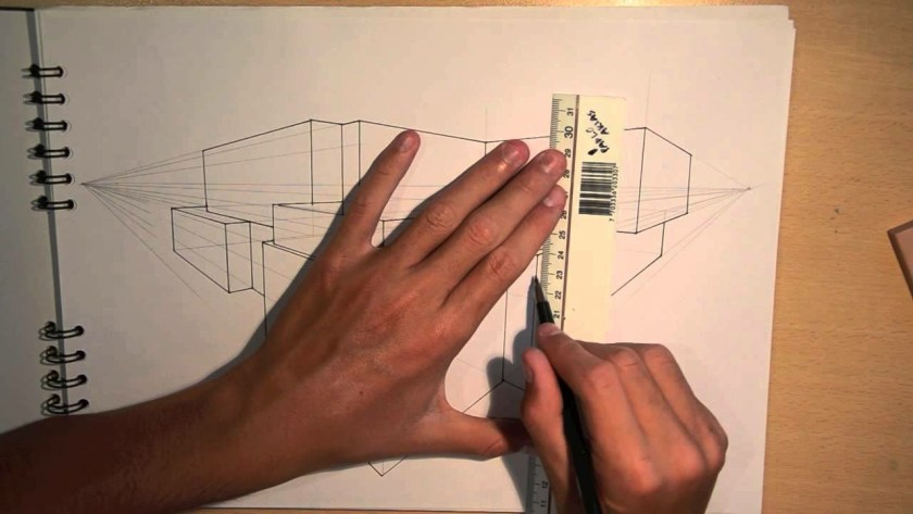 A closeup picture of an architectural drawing in progress