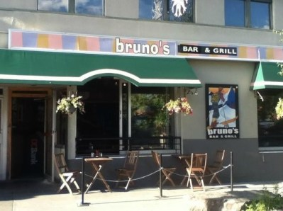 The outside sitting at the Bruno's Pub and Grill