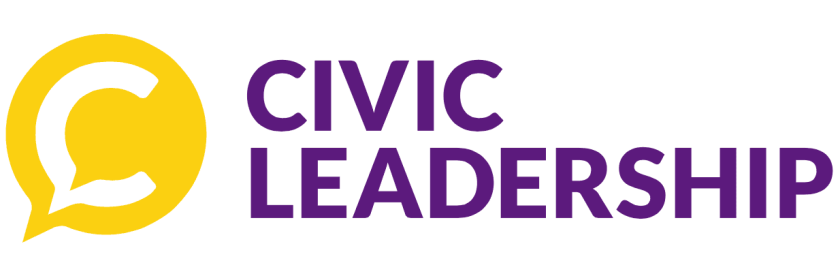 a banner that reads civic leadership