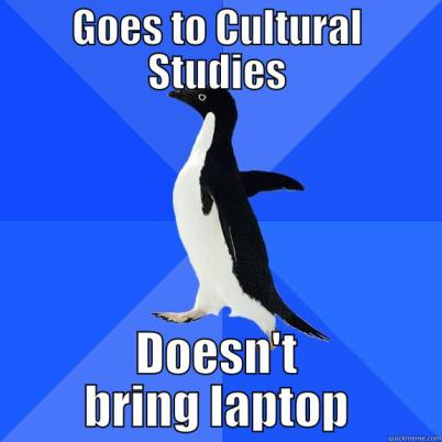 Image of a bird passing an information on Cultural Studies