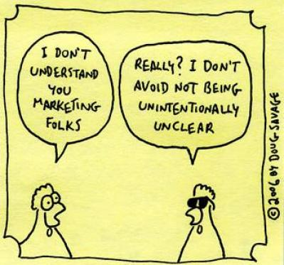 Funny carton picture of Marketing Communications