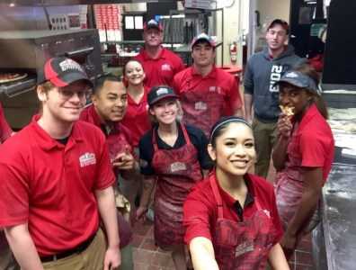 A section of staff at the Papa John's Pizza