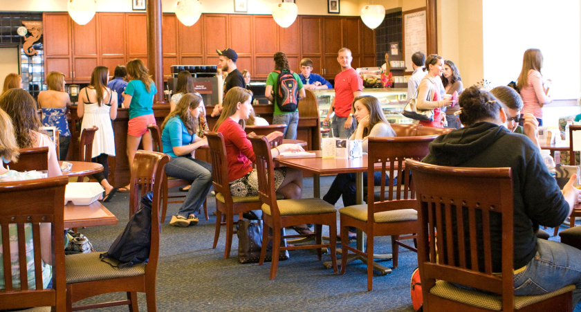 Students dining at the Smoke BBQ restaurant