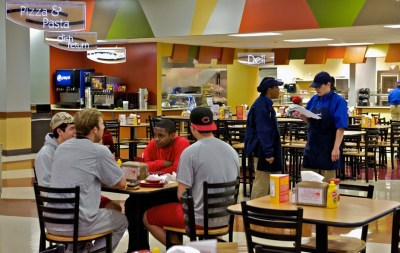 Students dining at The CAF