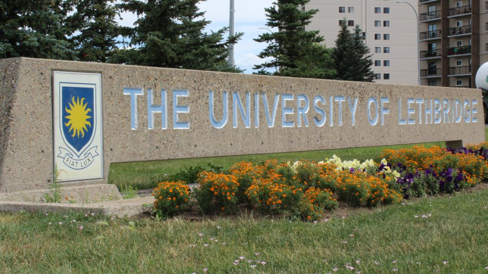 The main sign at the entrance to University of Lethbridge