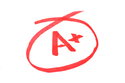 image of an A+ with a red circle around it