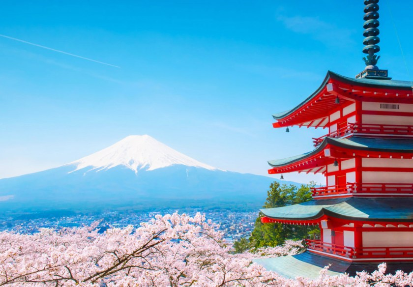 Beautiful view of Mount Fuji with red pagoda in cherry blossom season to showcase what you can do while teaching abroad in Japan. A great benefit to the easiest job of teaching abroad.