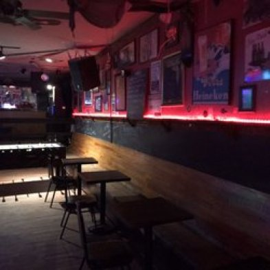 inside of the bar with speakers and photo decor