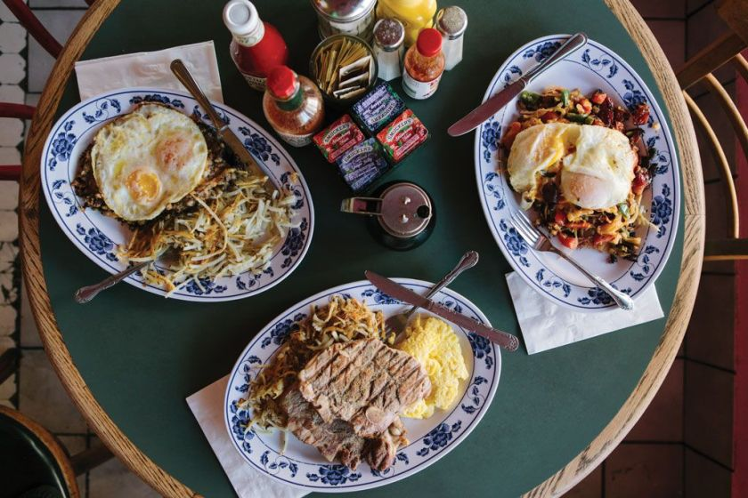 Three different breakfast options at Pork Store Cafe