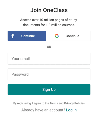 Step one of the OneClass free trial sign up process. this is the sign up page.