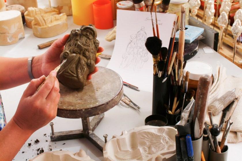 A Sculpture artist at work