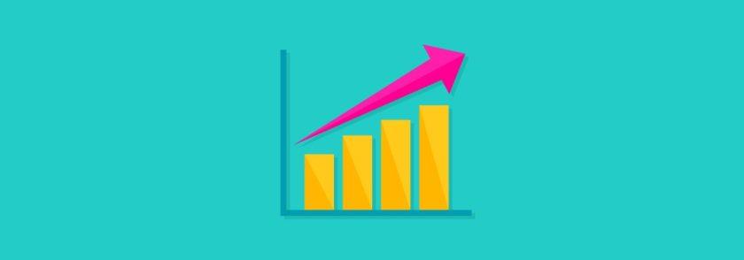 a large bar graph with an arrow going upwards